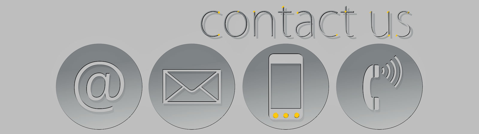 Contact Us title with communication symbols